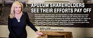 Apulum shareholders see their efforts pay off 1